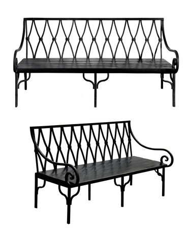 Old bench isolated on white background. Set Stock Photo