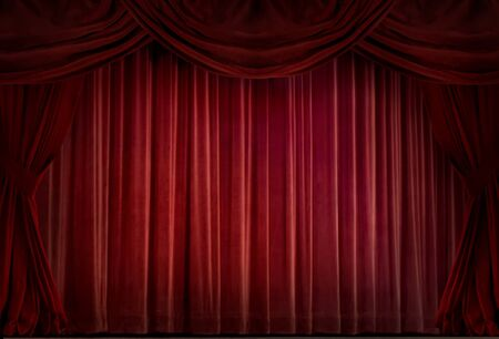 Red velvet curtain in a retro style Stock Photo