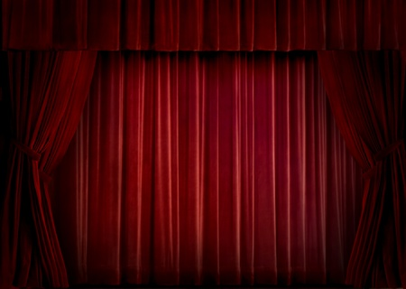 home theater: Red velvet theater curtain Stock Photo