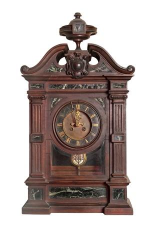 Vintage clock with pendulum, on white background  photo