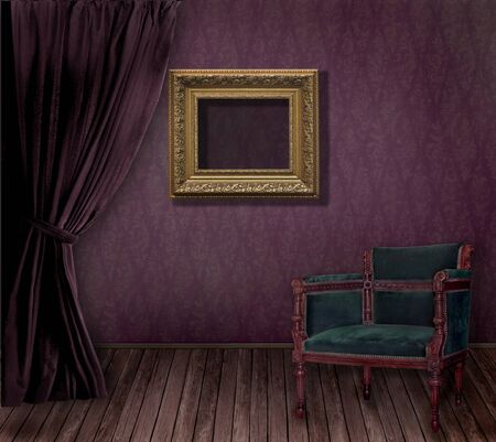 Old styled interior with golden frame and armchair