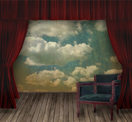 backstage: Red velvet curtains and sky background