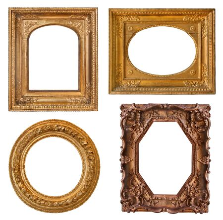 Collection old golden frames with decorative pattern and beautiful carving Stock Photo