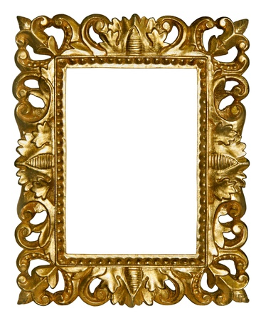 Picture gold frame with beautiful carving Stock Photo