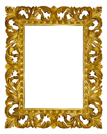 gild: Picture gold frame with beautiful carving Archivio Fotografico