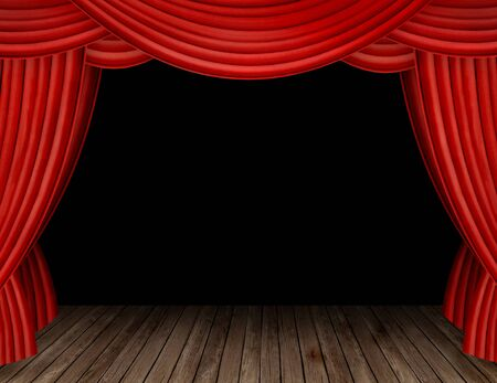 Large red curtain stage opening with black background photo