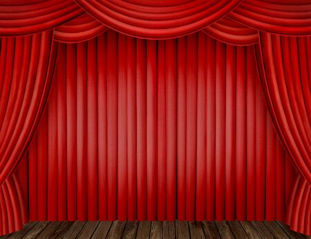 Large red curtain stage Stock Photo - 9601632
