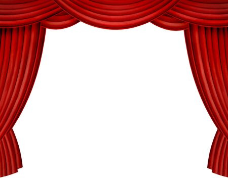 home theatre: Red curtains on white background Stock Photo