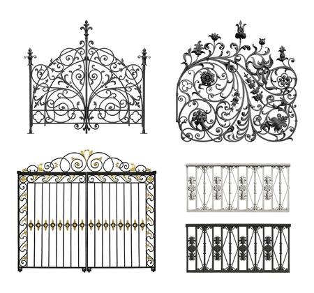 Collection of black forged gates and forged decorative lattice with flowers isolated on white background    photo