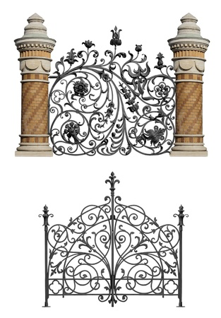 forging: Collection of black forged gates and forged decorative lattice with flowers isolated on white background