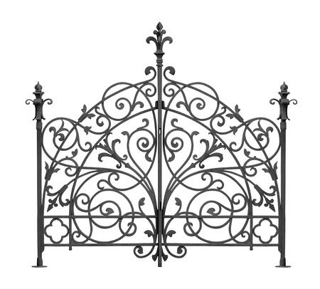 iron fence: Black forged gate with decorative lattice isolated on white background