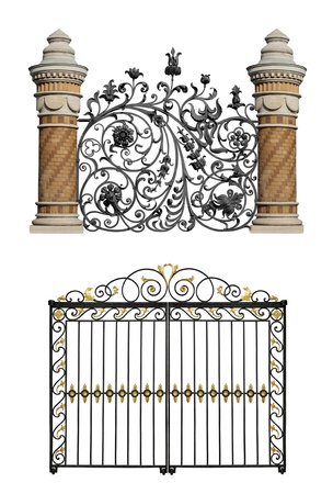 wrought iron: Collection of black forged gates and forged decorative lattice with flowers isolated on white background