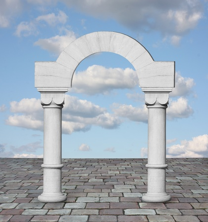 stone arch: Classic arch with clouds and blue sky