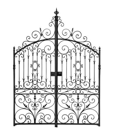 Black forged gates with decorative lattice isolated on white background