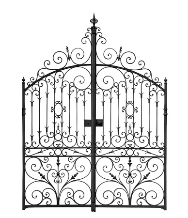 puertas de hierro: Black puertas forjadas con celosía decorativa sobre fondo blanco