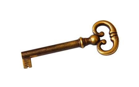 Old key on white background photo