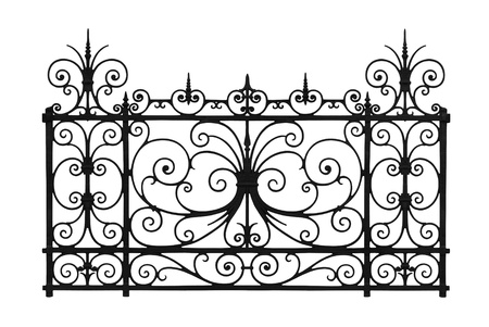 iron fence: Forged decorative lattice isolated on white background