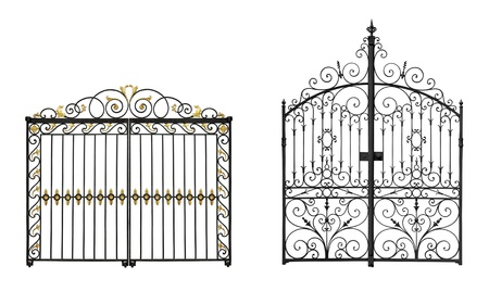 Black forged gates with decorative lattice isolated on white background Stock Photo - 15866653