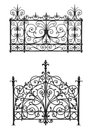 Collection of black forged gate and decorative lattice isolated on white background Stock Photo - 15866652
