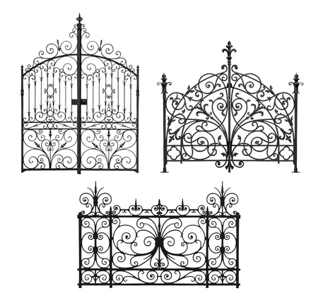 Collection of black forged gates and decorative lattice isolated on white background