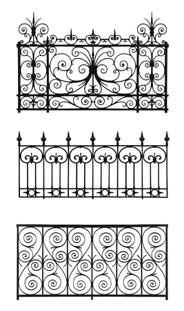 iron fence: Collection of forged decorative lattice isolated on white background