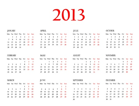 Calendar 2013  Template for your design  Stock Photo