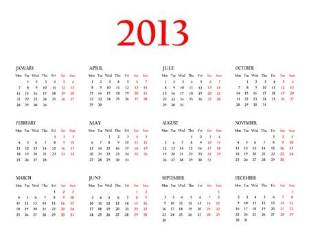 Calendar 2013  Template for your design Stock Photo - 16825203