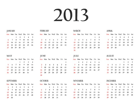 Calendar 2013  Template for your design  Weeks start on Sunday  photo