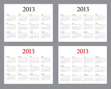 Set of Template Calendars for 2013 on a white background Stock Photo - 16848534