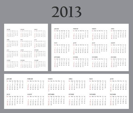Set of Template Calendars for 2013. Weeks start on Sunday photo