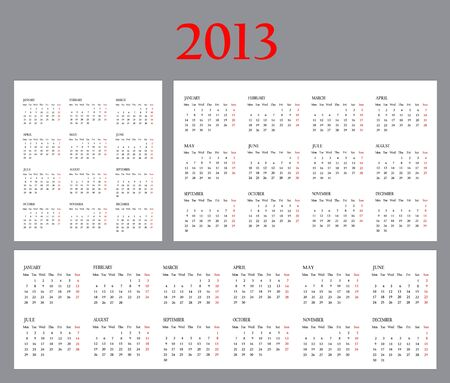 Set of Template Calendars for 2013. Weeks start on Monday photo