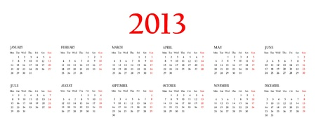 Calendar 2013. Template for your design. Weeks start on Monday  photo