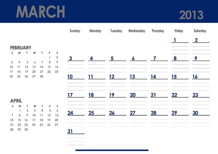 Monthly calendar for 2013 year - March  Start on Sunday  With previous and next months photo