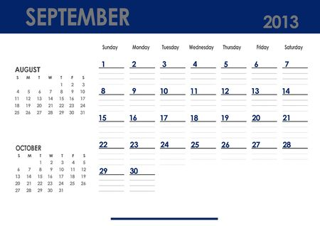 Monthly calendar for 2013 year - September  Start on Sunday  With previous and next months photo
