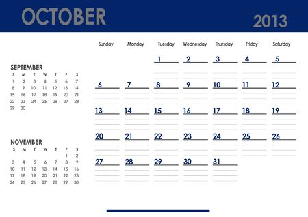 Monthly calendar for 2013 year - October  Start on Sunday  With previous and next months