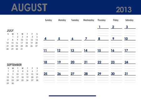 Monthly calendar for 2013 year - August. Start on Sunday. With previous and next months