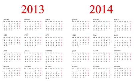 Set of Calendars Template for 2013-2014 years
