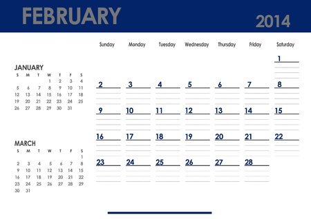 Monthly calendar for 2014 year - February  Start on Sunday  With previous and next months photo