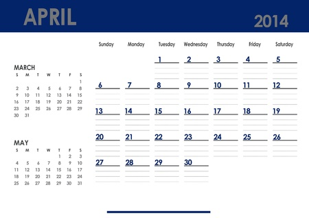 Monthly calendar for 2014 year - April  Start on Sunday  With previous and next months photo