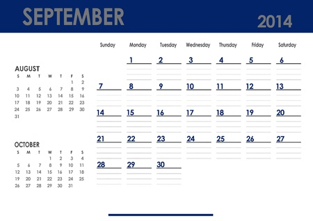 Monthly calendar for 2014 year - September  Start on Sunday  With previous and next months
