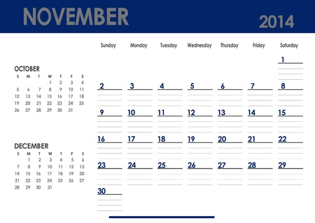 Monthly calendar for 2014 year - November  Start on Sunday  With previous and next months photo