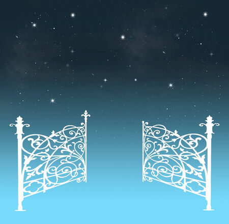 forged: Gates opening to a beautiful nightly sky with stars