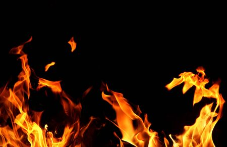 Red fire and flame on a black background
