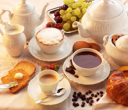 tea and biscuits: Breakfast  Stock Photo