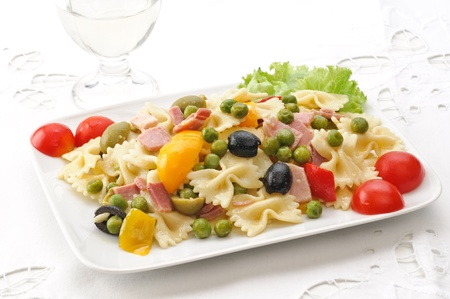 pickled: cold pasta - farfalle with vegetables