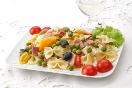 pasta salad: cold pasta - farfalle Stock Photo