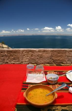 sopa: Sopa y comida tipica de Isla Taquile, Lago Titicaca, Peru