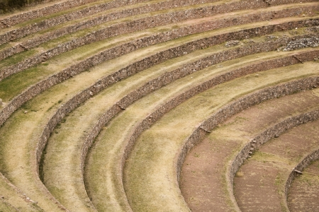 moray: Moray harvest terraces in Sacred Valley of Cusco Peru Stock Photo