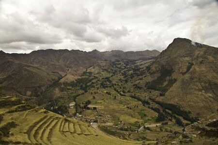 sacred valley of the incas: Pisac harvest terraces in Urubamba Valley, Sacred Valley, Cusco Peru Stock Photo