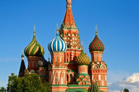 Detalle de la catedral mas conocida de Moscu y la Plaza Roja a mts del Kremlin  Stock Photo
